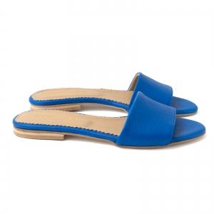 Flip flops din piele naturala albastru cobalt.1