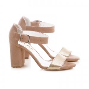 Sandale cu toc gros, din piele intoarsa bej si aurie2