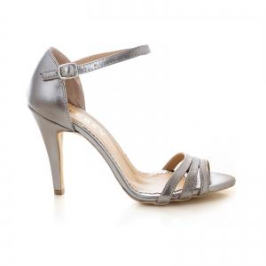 Sandale cu barete, din piele de nuanta argintiu perlat0