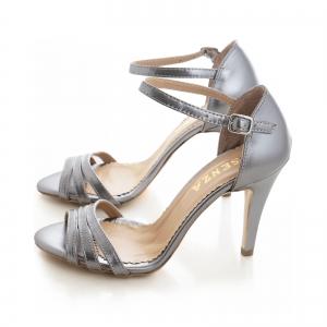 Sandale cu barete, din piele de nuanta argintiu perlat2