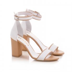Sandale din piele alba si bej, cu toc gros [1]