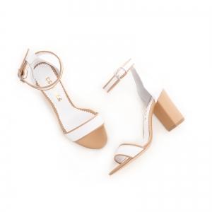 Sandale din piele alba si bej, cu toc gros [3]