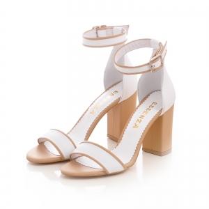 Sandale din piele alba si bej, cu toc gros [2]
