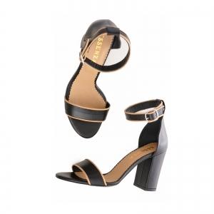 Sandale cu toc gros, din piele neagra cu si bej3