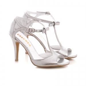 Sandale cu fundita, din piele argintiu platina1