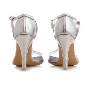 Sandale cu fundita, din piele argintiu platina3