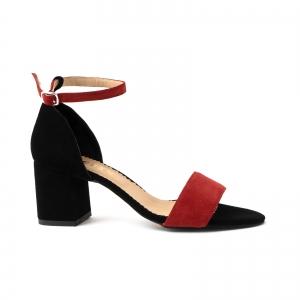 Sandale din piele intoarsa neagra si rosie0