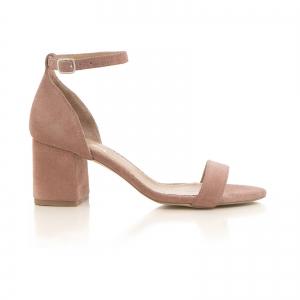 Sandale din piele intoarsa roz somon, cu toc gros. [0]