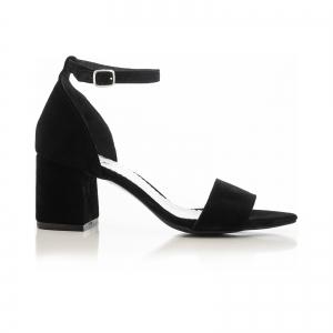 Sandale din piele intoarsa neagra, cu toc gros. [0]