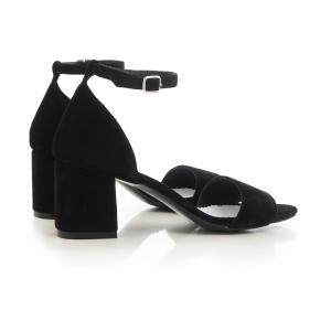 Sandale din piele intoarsa neagra, cu toc gros.3
