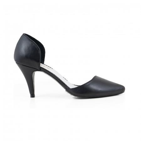 Pantofi stiletto decupati(interior/exterior), realizati din piele naturala neagra0
