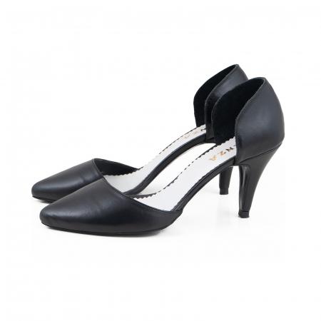 Pantofi stiletto decupati(interior/exterior), realizati din piele naturala neagra1