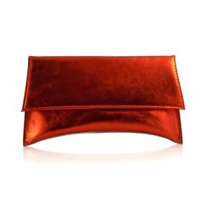 Poseta plic Maia, din piele portocaliu/caramiziu laminata0
