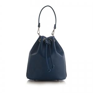 Poseta Kristy bucket din piele naturala bleu marine0