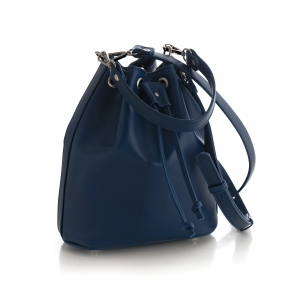 Poseta Kristy bucket din piele naturala bleu marine1