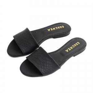 Flip flops din piele naturala neagra croco4