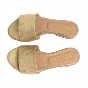 Flip flops din piele naturala auriu glitter2