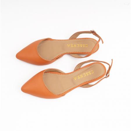 Balerini decupati cu varf ascutit , din piele naturala portocaliu-caramiziu3