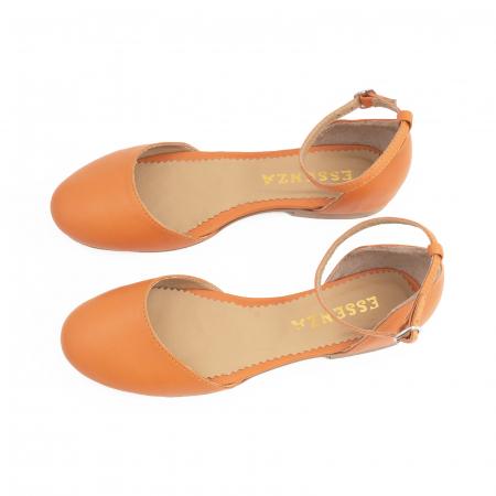 Balerini decupati pe laterale, cu bareta la staif, din piele naturala portocaliu-caramiziu [3]