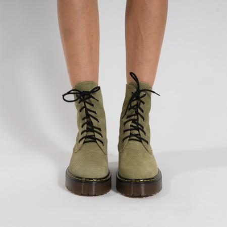 Bocanci cu siret, din piele naturala intoarsa kaki, cu presaj [3]