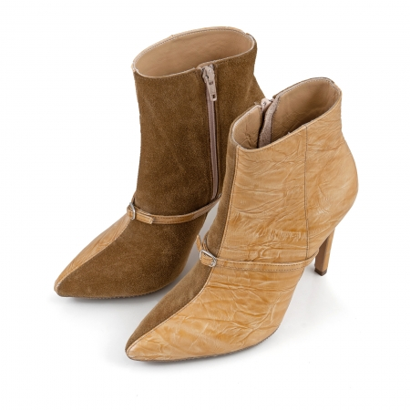 Botine Stiletto din piele intoarsa maron mustar si piele lacuita camel cu umbre2
