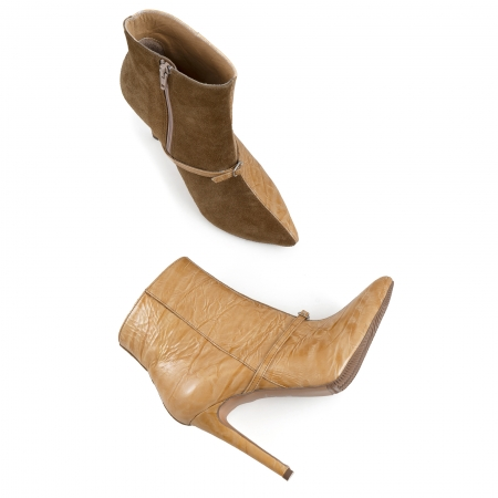 Botine Stiletto din piele intoarsa maron mustar si piele lacuita camel cu umbre3