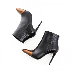 Botine Stiletto din piele neagra si piele metalizata bronz3