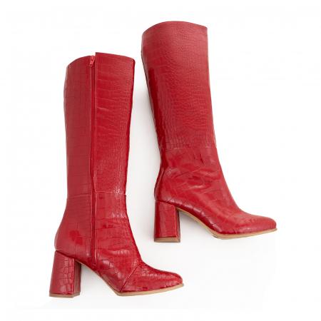 Cizme din piele naturala rosie cu aspect tip croco3