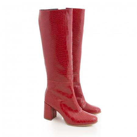 Cizme din piele naturala rosie cu aspect tip croco1
