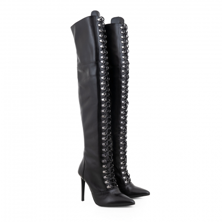Cizme Stiletto peste genunchi,cu siret si capse metalice, din piele naturala neagra1