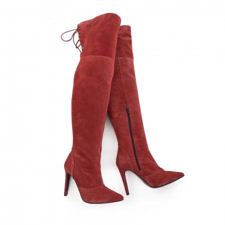 Cizme Stiletto peste genunchi ,din piele intoarsa burgundy3