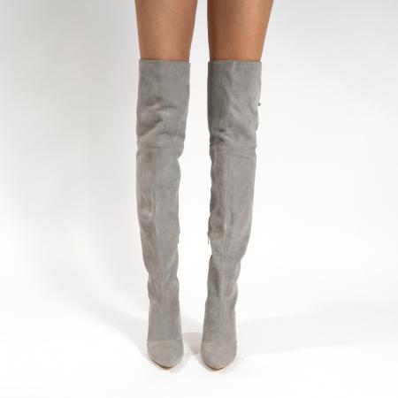 Cizme Stiletto peste genunchi, din piele naturala intoarsa gri2