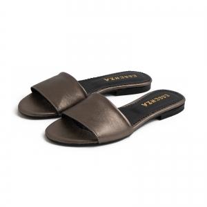 Flip flops din piele laminata bronz2
