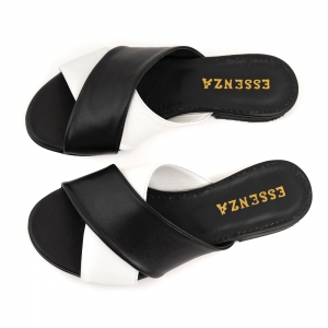 Flip flops din piele naturala neagra si alba5