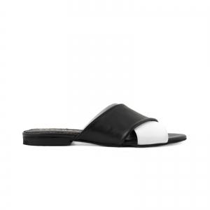 Flip flops din piele naturala neagra si alba0