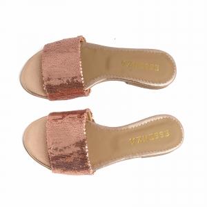 Flip flops din piele naturale nude roze si textil cu paiete roz2