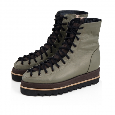 Ghete Everest cu siret, din piele sidefata kaki deschis piele maron patinat1