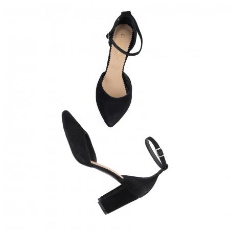 Pantofi cu decupaj si bareta la calcai, din piele intoarsa neagra [3]