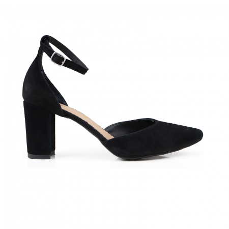 Pantofi cu decupaj si bareta la calcai, din piele intoarsa neagra [0]