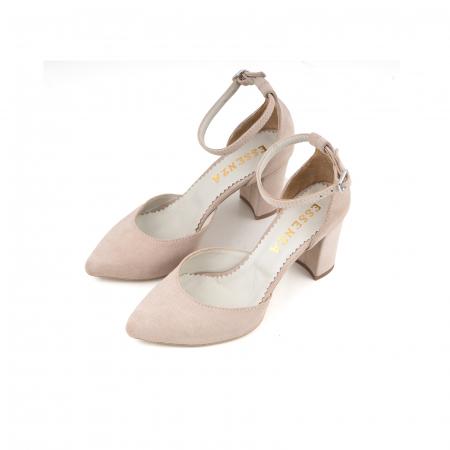 Pantofi cu decupaj si bareta la calcai, din piele intoarsa nude1