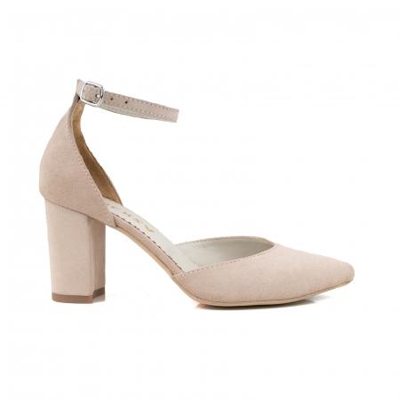 Pantofi cu decupaj si bareta la calcai, din piele intoarsa nude [0]
