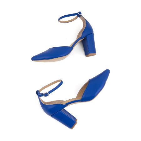Pantofi cu decupaj si bareta la calcai, din piele naturala albastra [2]