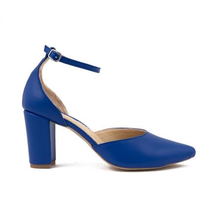 Pantofi cu decupaj si bareta la calcai, din piele naturala albastra [0]