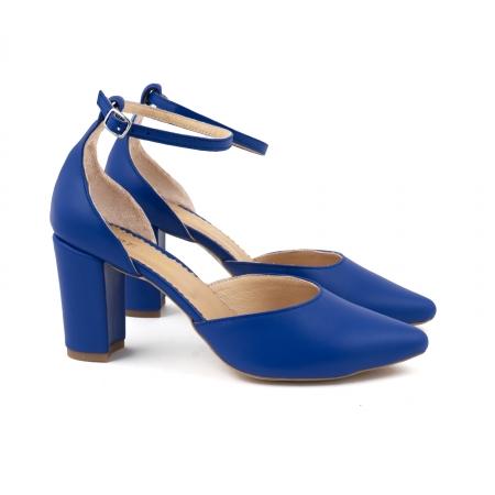 Pantofi cu decupaj si bareta la calcai, din piele naturala albastra [1]