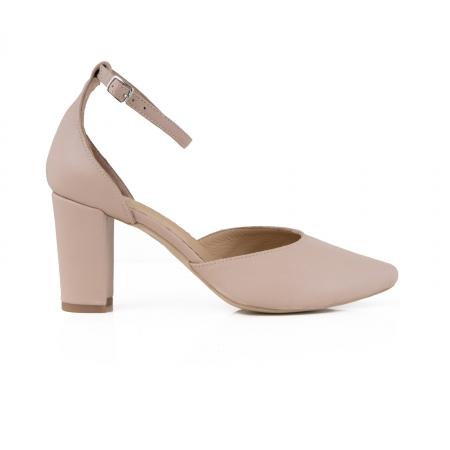 Pantofi cu decupaj si bareta la calcai, din piele naturala nude rose.0