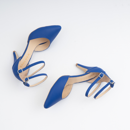 Pantofi cu decupaj si barete la calcai, din piele naturala albastra4