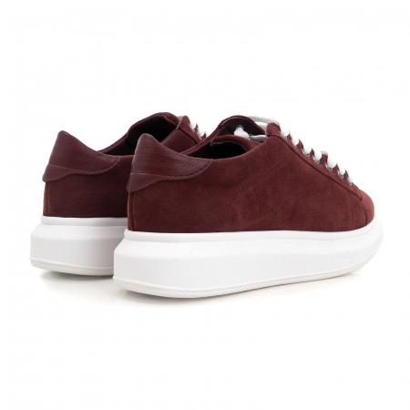 Pantofi cu talpă groasă, realizati din piele naturală visiniu-caramiziu2