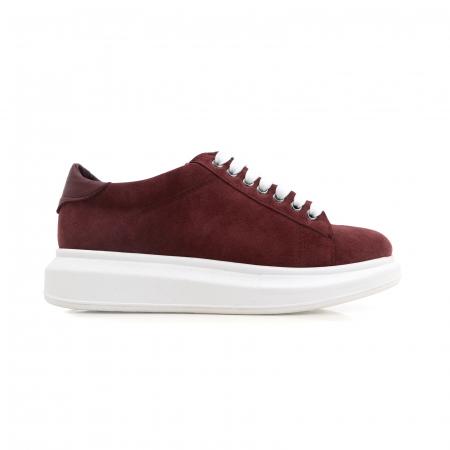 Pantofi cu talpă groasă, realizati din piele naturală visiniu-caramiziu0