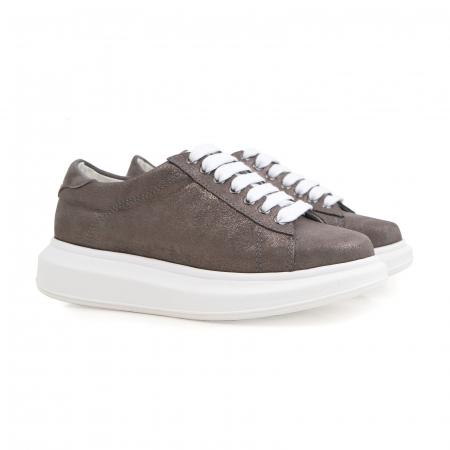 Pantofi cu talpă groasă, realizati din piele natural gri glitter1