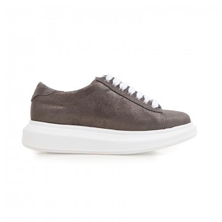 Pantofi cu talpă groasă, realizati din piele natural gri glitter0